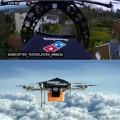 Rede de pizzaria Domino's e Amazon já testam entregas de varejo com drones. (Montagem Fotos Reprodução.)