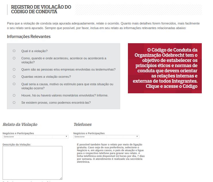 Captura de tela do canal de denúncias da Odbrecht: desafio é convencer funcionários a usá-lo. (Foto: Reprodução)